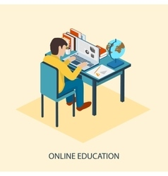 Online education students are taught online vector