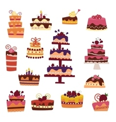 Cake collection isolated on white vector