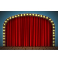Stage with red curtain vector