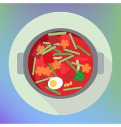 Vegetable beet soup borsch flat vector