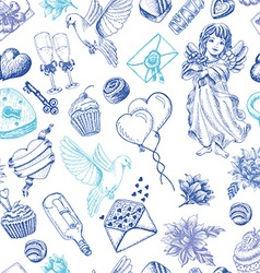 Seamless pattern with love elements vector image