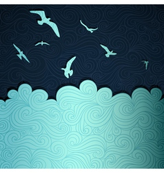 Seagulls above waves vector image