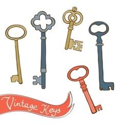 Baeutiful hand drawn vintage keys collection vector image