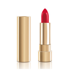 Beautiful red lipstick with lid in gold makeup vector