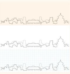 Beijing hand drawn skyline vector