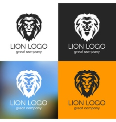 black and white lion logo on various backgrounds vector image