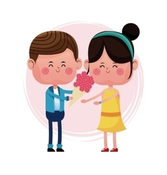 Boy giving flower girl love card vector
