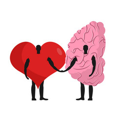 Brain and heart friends friendship love and reason vector