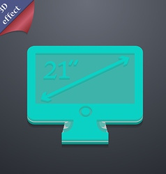 Diagonal of the monitor 21 inches icon symbol 3d vector