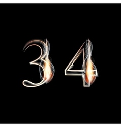 Fire and smoke font numbers 3 4 vector