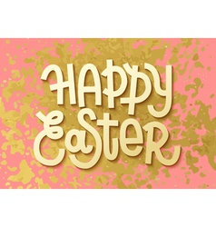 Happy easter gold leaf boho chic greeting card vector