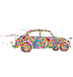 Hippie beetle car vector