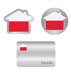 Home icon on the Poland flag vector image vector image