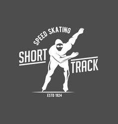 Ice skating label logo vector