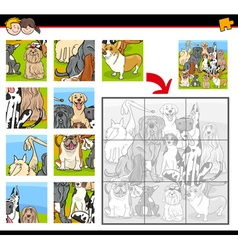 jigsaw puzzle task with dogs vector image vector image