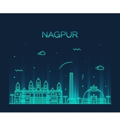 Nagpur skyline silhouette linear style vector image vector image