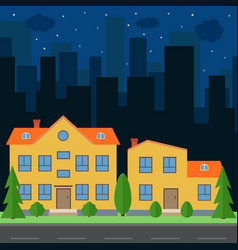Night city with cartoon houses vector