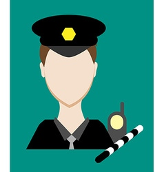 Profession people cop Face male uniform Avatars in vector image