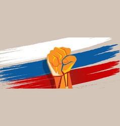 Russia hand fist revolution flag national vector