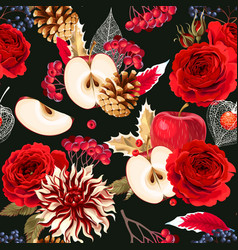 seamless pattern with roses and berries vector image vector image