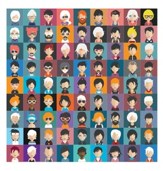 Set of people icons in flat style with faces 24 b vector