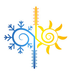 Sun and snowflake abstract symbol of temperature vector