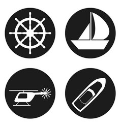 Travel and tourism icons set in circle button vector