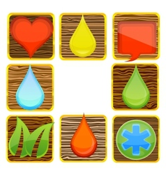 web nature and creative wood symbols set vector image