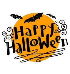 Happy halloween lettering with moon and bats vector