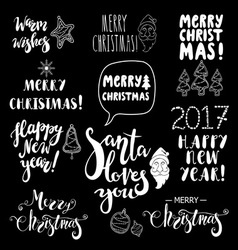 Set of christmas and happy new year lettering vector