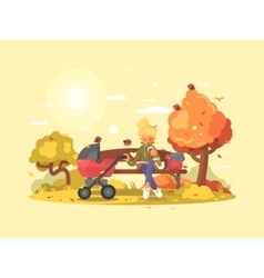 Young mother with baby in stroller vector
