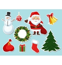 Sticker christmas set vector