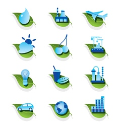 Diverse ecological icons set vector image