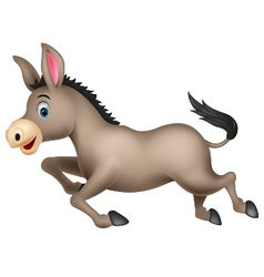 Cute donkey cartoon running vector
