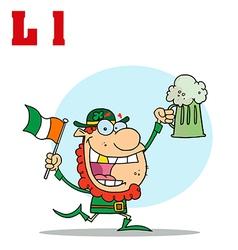 Leprechaun cartoon with letter vector image