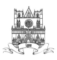 lyon landmark famous city building travel france vector image
