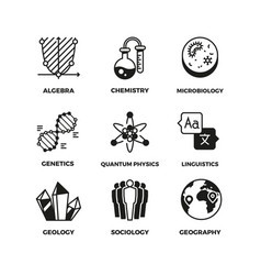 Science pictograms genetics algebra vector
