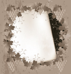 Paper and grape frame vector