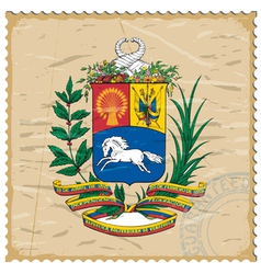 Coat of arms of Venezuela on the old postage stamp vector image