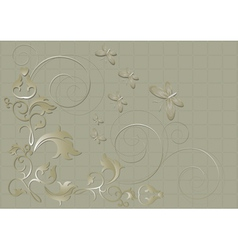 Floral pattern with butterflies and spirals on a b vector