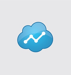 Blue cloud up diagram icon vector