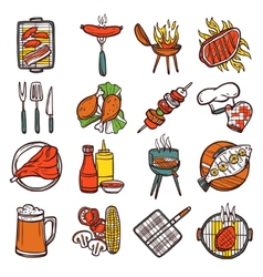 Bbq grill colored icons set vector