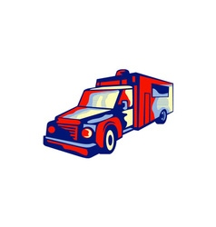 Ambulance emergency vehicle retro vector