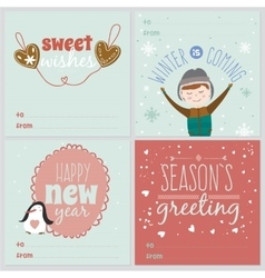 Cards with christmas typographic and elements vector