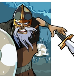 Cartoon angry man viking with a sword vector