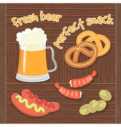 Fresh beer perfect snack vector