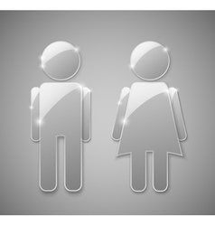 Male female glass element vector