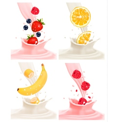 Four different labels with fruit falling into milk vector