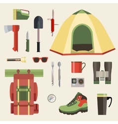 Set of camping equipment symbols icons and tools vector
