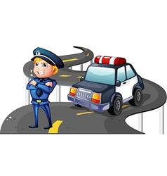 A police and his patrol car in the middle of the vector image vector image